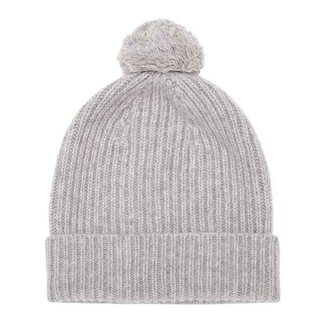 Cashmere Bobble Hat, Grey