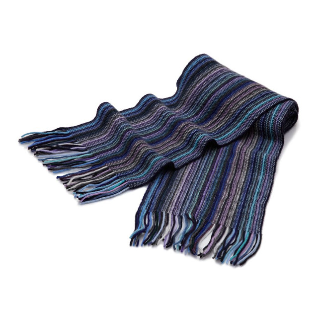 Cashmere 1ply Striped Scarf, Blue