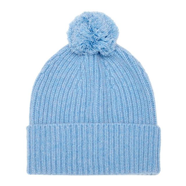 Cashmere Bobble Hat, Blue