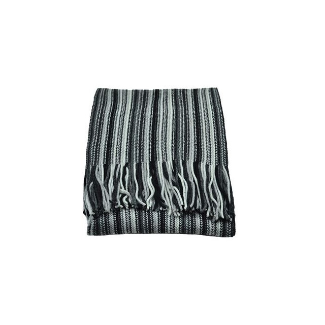 Cashmere 2 Ply Striped Scarf, Black