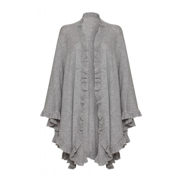 Cashmere Frilly Cape, Grey