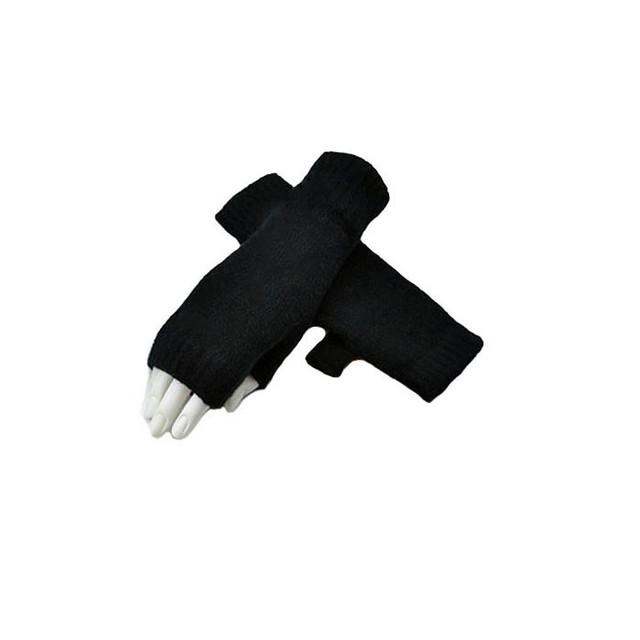 Cashmere Fingerless Mitts, Black