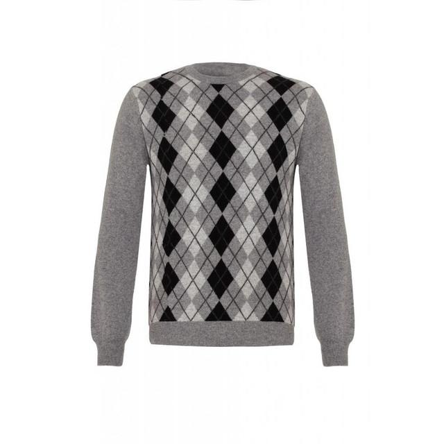 Cashmere Argyle Round Neck Jumper, Grey