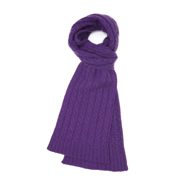 Cashmere Cable Scarf, Purple