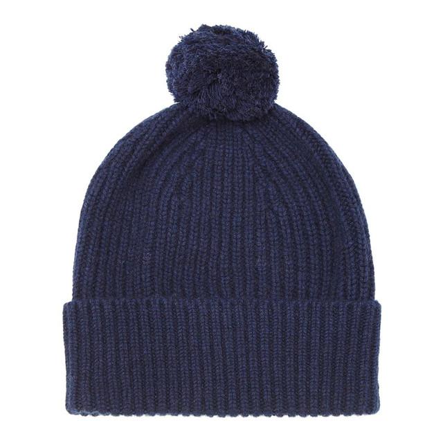 Cashmere Bobble Hat, Navy