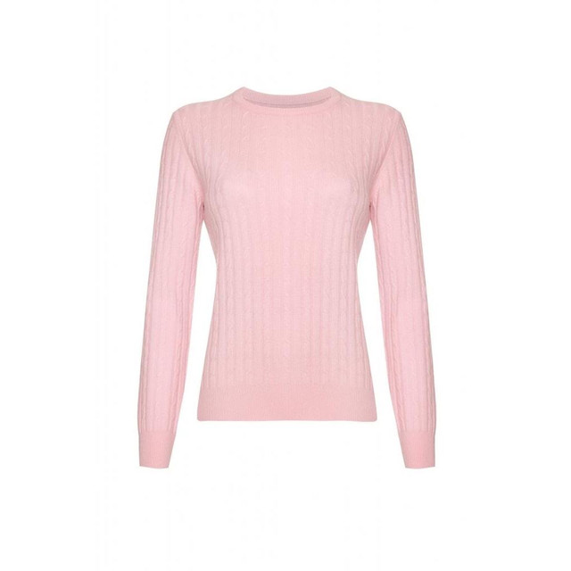 Cashmere Cable Round Neck Jumper, Baby Pink