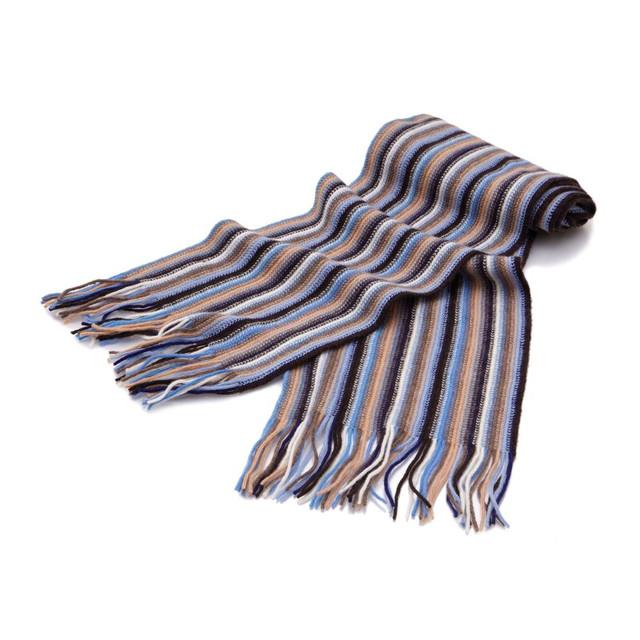 Cashmere 1ply Striped Scarf, Beige