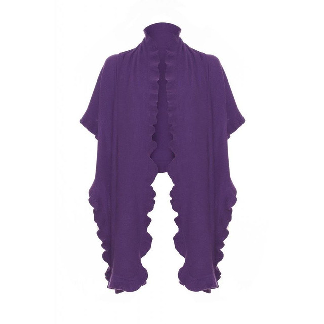 Cashmere Frilly Wrap, Purple