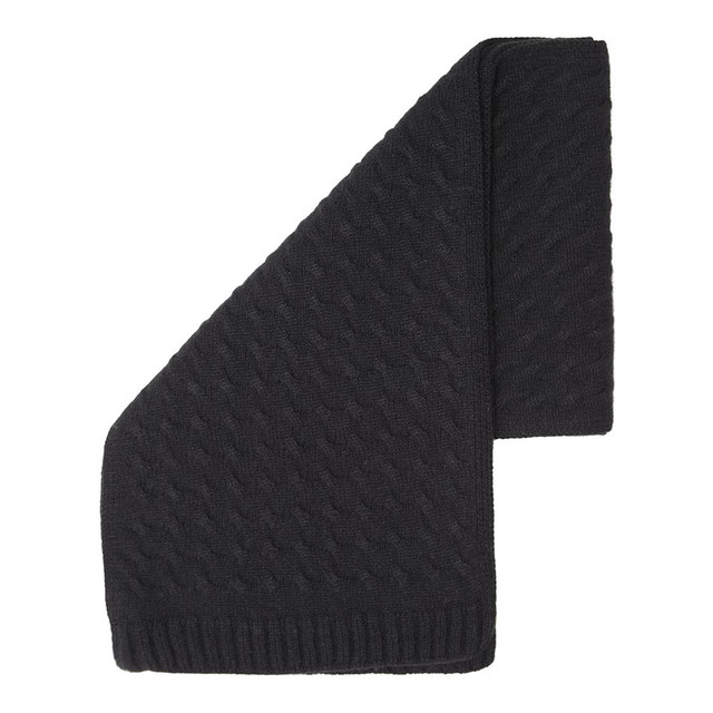 Cashmere Cableknit Scarf, Black