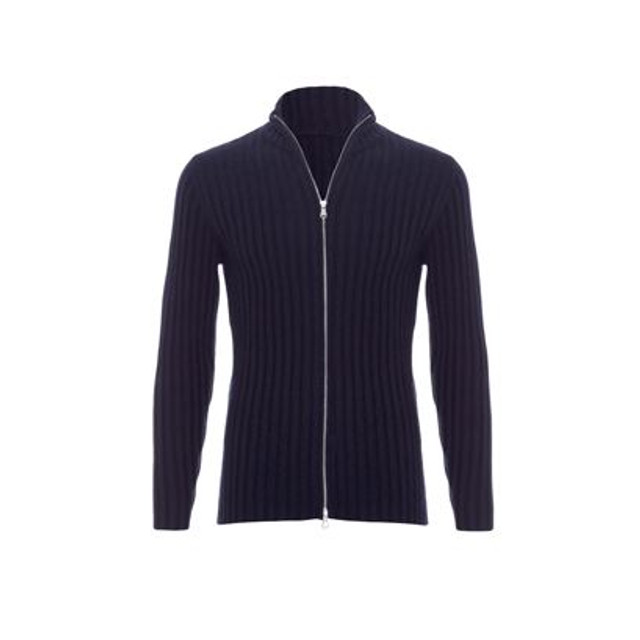 Ribbed Cashmere Zip Up, Navy