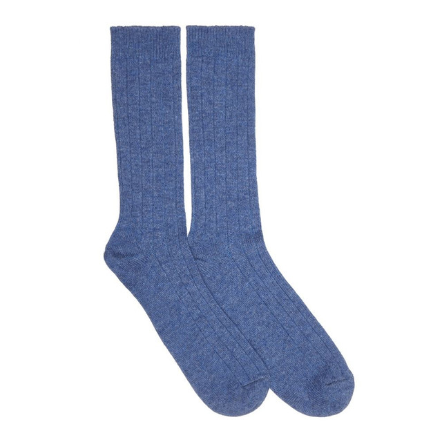 Mens Cashmere Socks, Denim