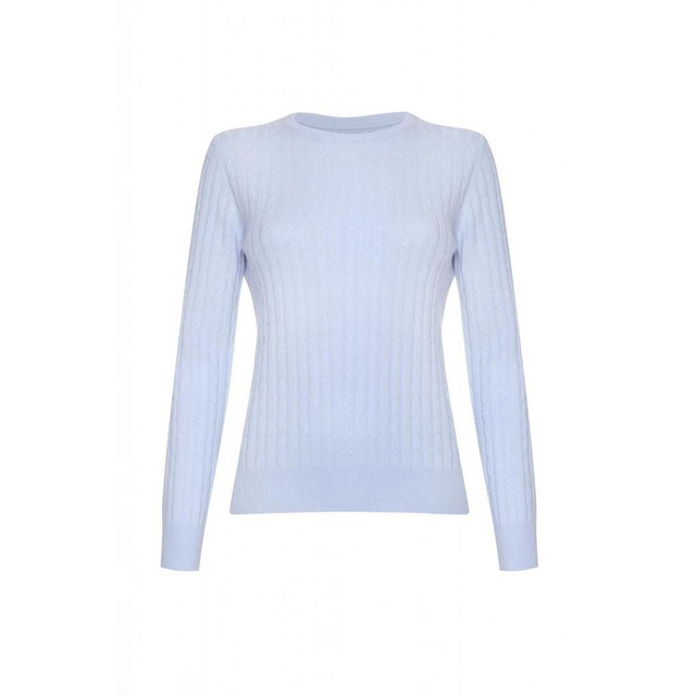 Cashmere Cable Round Neck Jumper, Baby Blue