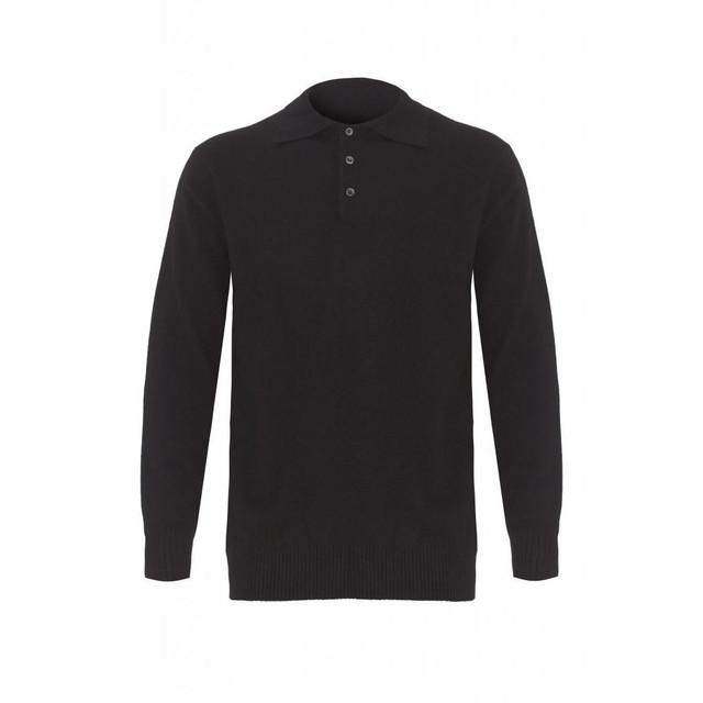 Cashmere Polo Jumper, Black