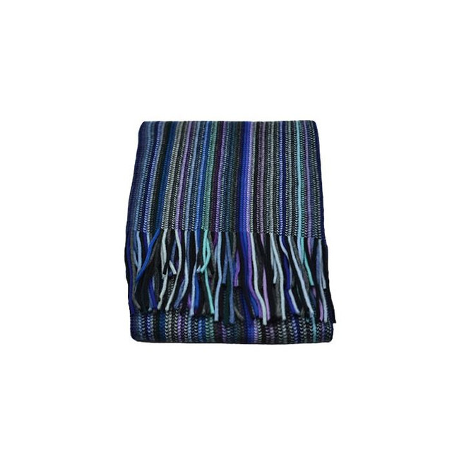 Cashmere 2 Ply Striped Scarf, Blue