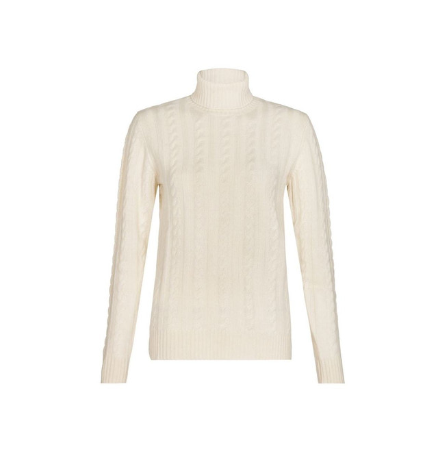 Cable Polo Neck Jumper, White