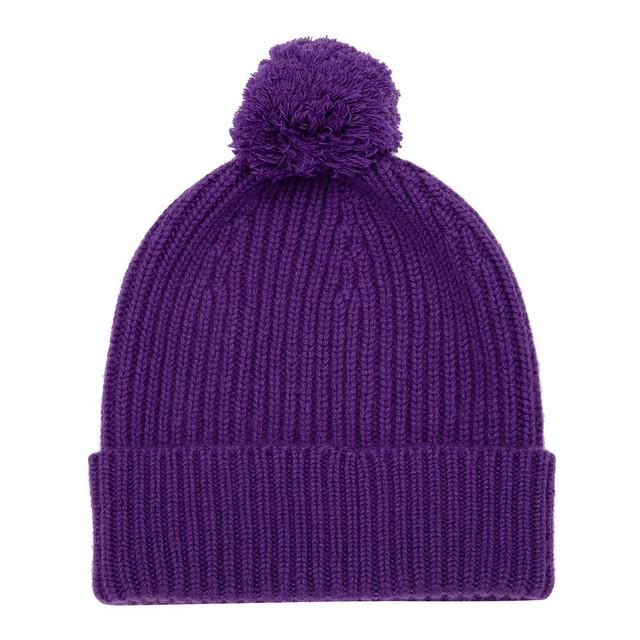 Cashmere Bobble Hat, Purple