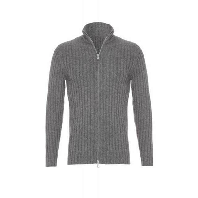 Ribbed Cashmere Zip Up