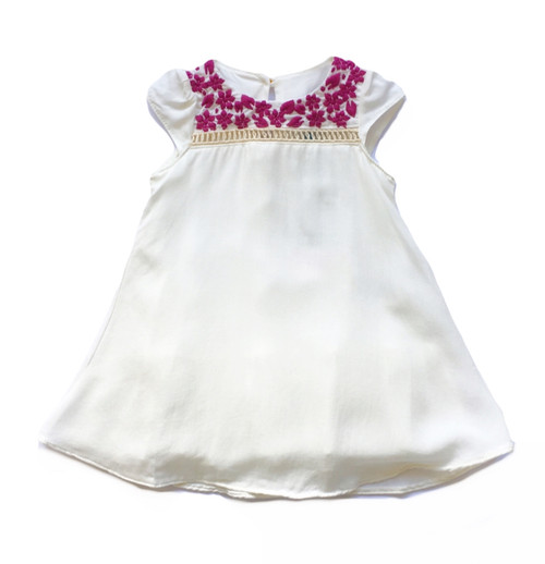 Embroidered Off White Baby Dress