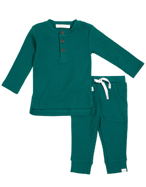 2pc Organic Green Henley Set