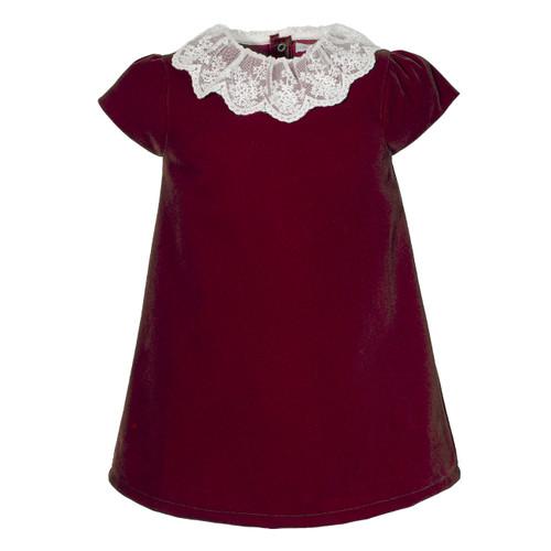 S/S Lace Collar Velvet Dress