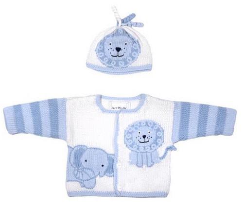 Blue Jungle Baby Sweater/Hat Set