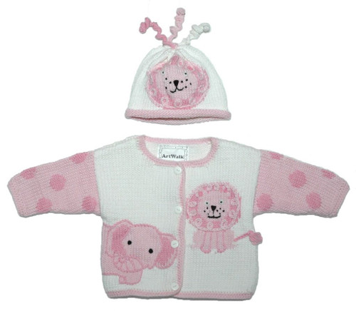 Pink Jungle Baby Sweater/Hat Set