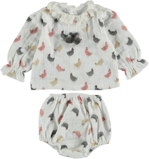 2 Piece  Chicken Print Set