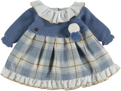 Blue Knit and Plaid Dress