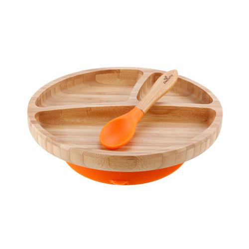 Bamboo/Silicone Plate & Spoon-Orange