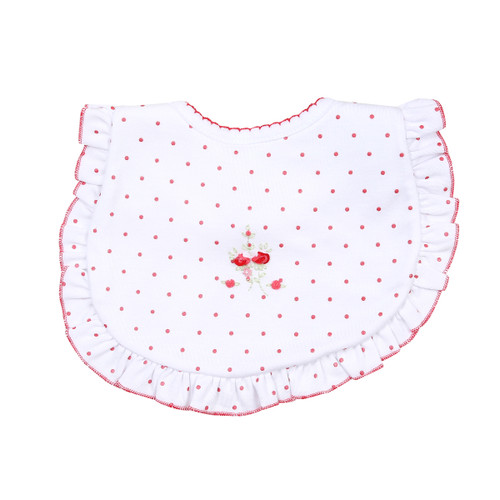 Red Rose Embroidered Bib