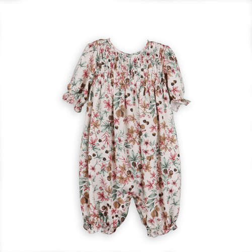 Chestnut Print Smocked Long Bubble
