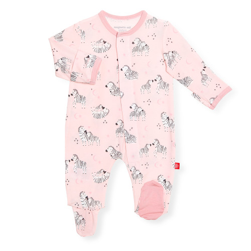 Pink Zebra Cotton Modal Footie