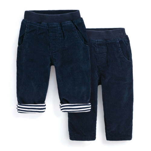 Navy Corduroy Pull On Pant