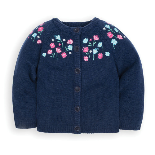 Navy Pretty Embroidered Cardigan