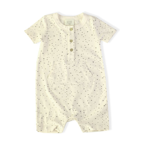 Kangaroo Pocket Romper - Pebble