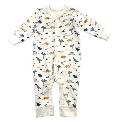 Dino Snap Front Coverall - Natural