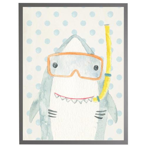 Watercolor Shark on Geomteric