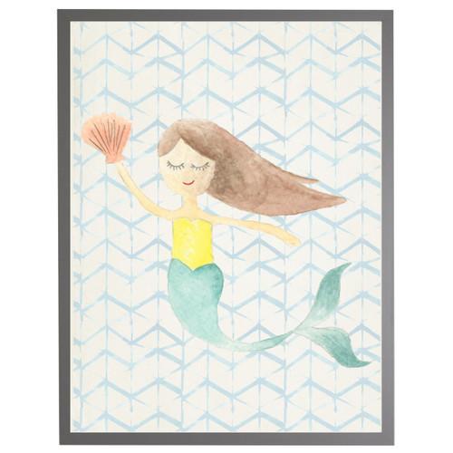 Watercolor Mermaid on Geometric