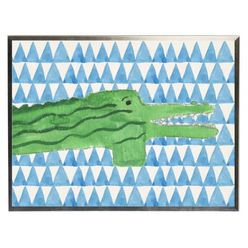 Watercolor Alligator on Blue Geometric