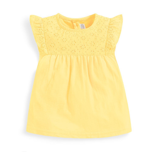 Yellow Embroidered Flutter Top