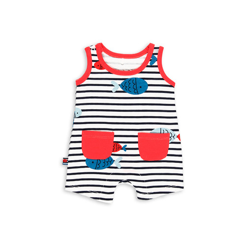 Stripe Fish Sleeveless Playsuit