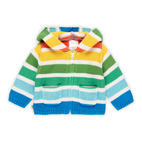Stripe Zipper Cardigan