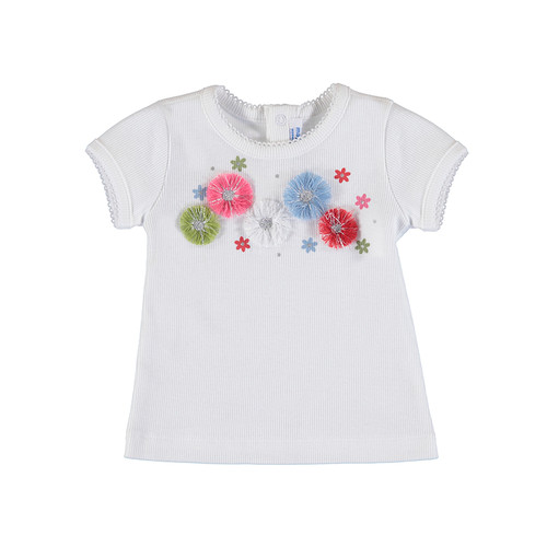 White Ribbed Tee w/Flowers