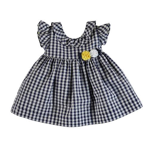 Navy Checkered Dress