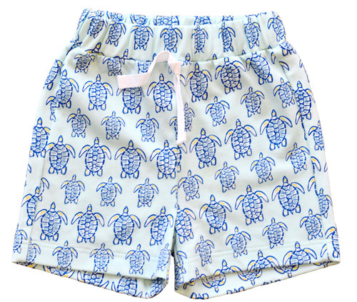 Blue Sea Turtle Shorts