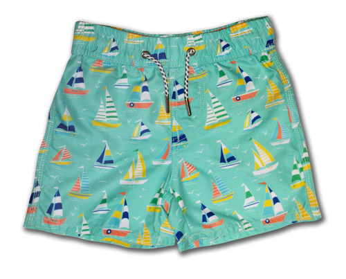 Aqua Sailboat Swim Trunk