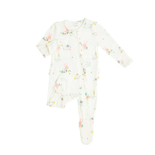 Ruffle Front Zip Footie - Little Farmer Girl