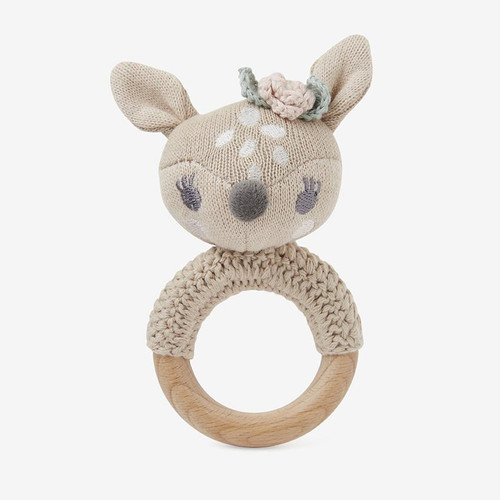 Knit Fawn Ring Rattle