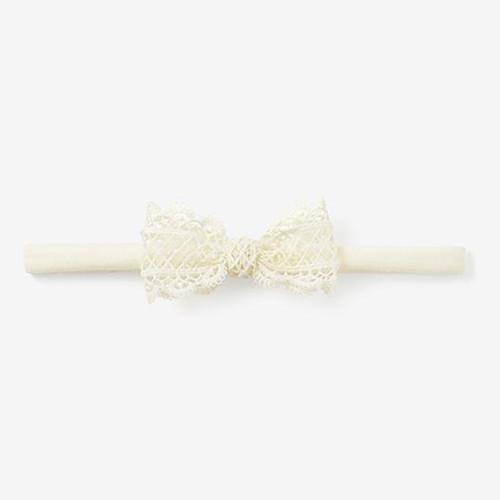 Lacey Bow Headband - Ivory