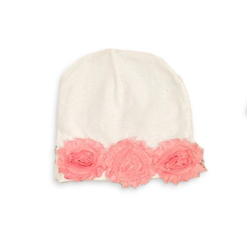 Shabby Chic Flower Beanie - Pink